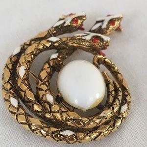 Jewelry - Vintage Signed ART Three Snake Head Brooch